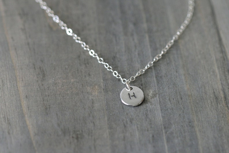 Silver Disc Initial Necklace / Personalized Pendant on a image 0