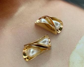 Gold Pearl Earrings / Two Peas June Birthstone / Tear Drop Pearl /Pea Shape Ear Studs