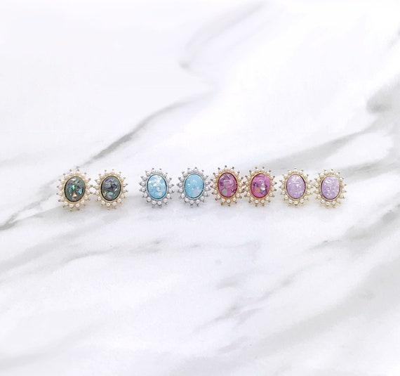 Color Opal with Pearl Stud Earrings
