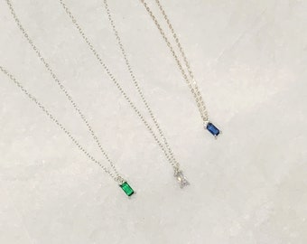 925 Silver Tiny Green, Blue, Clear Rectangle Shape Necklace /April, May, September Birthstone  Pendant necklace