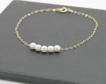 Little Pearl Bracelet / Gold filled bracelet with tiny pearls / bridesmaid bracelet
