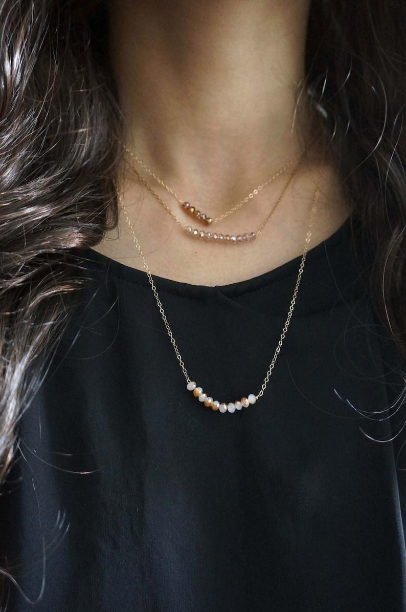 Minimal glass bead layered / Delicate 14k Gold Filled bracelet image 1