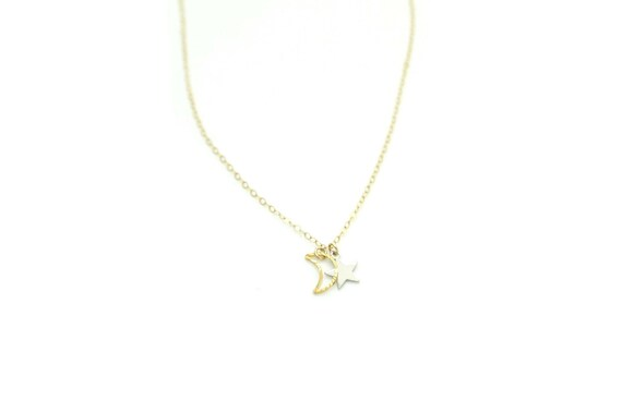 Tiny Silver Star Crescent Moon  Necklace / Small Shooting Star Necklace