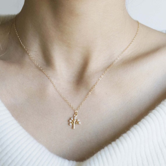 Delicate  Tree Charm Necklace