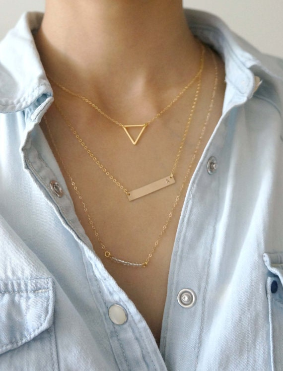 Gold Bar Layering Necklace Set