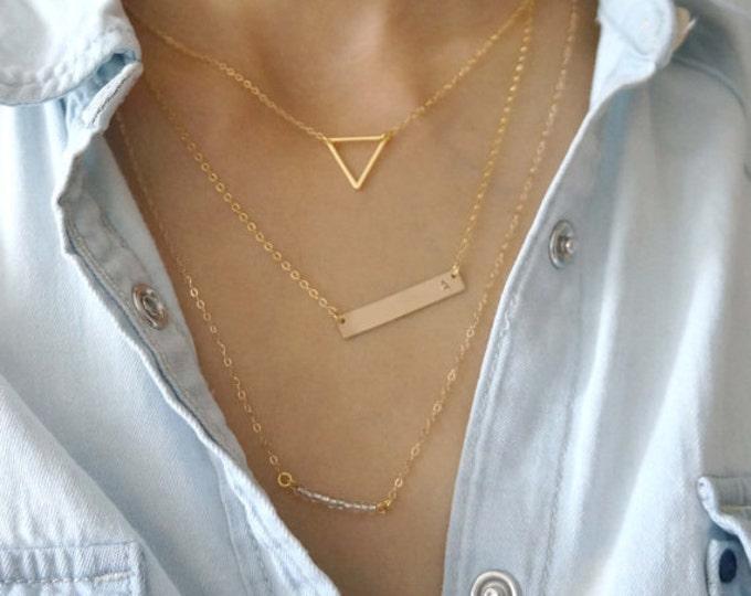 Gold Bar Layering Necklace Set