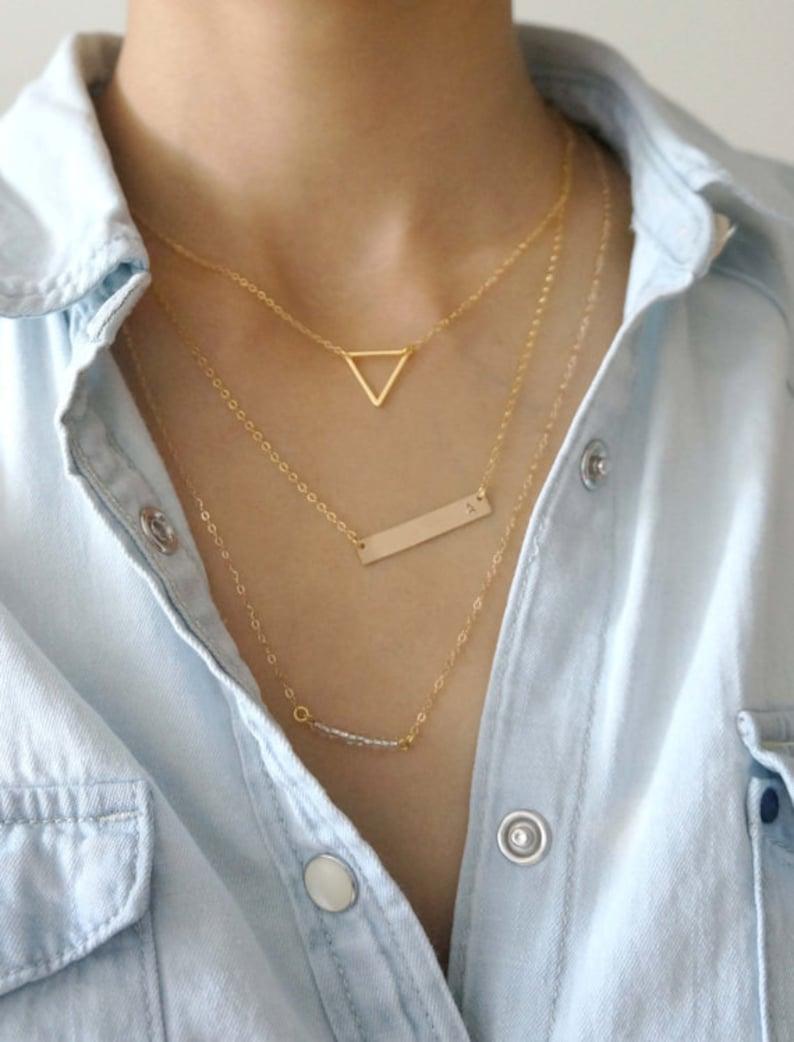 Layering Necklace Set / Gold Bar Necklace Layered Set of 3 image 0