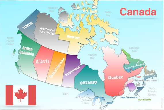 Easy Map Of Canada.Canada Map Laminated Provinces Durable Easy To Clean Placemat
