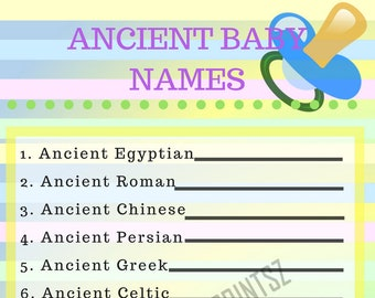 Unicorn Baby Shower Ancient Baby Names Printable Game