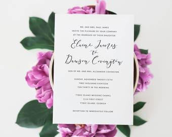 Printable Wedding Invitation Suite | Simple Wedding Invites | Calligraphy Invitations | Minimalist Wedding Invitations | WI-032