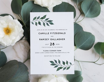 Printable Wedding Invitation Suite | Botanical Invitation | Simple Wedding Invitation | Floral Wedding Invites | Modern Invitations | WI-045