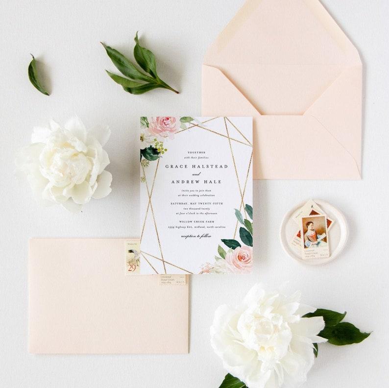 Editable Wedding Invitation Template Floral Greenery Printable CORJL 18