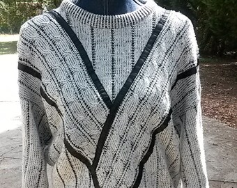 Retro Sweater by GABRIELLE//Genuine Leather Trimming//Cosby Sweater