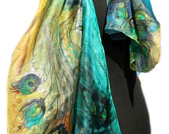 Peacock scarf. Silk scarf hand-painted. Feather scarf. Ready to go. Art wearable. Long shawl Green blue. Birthday gift for her.