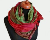 Silk Rose Scarf. Red Green wrap. Gift for mom. Hand-painted silk scarf very long. Spring scarf. Strawberry red pink green brown.