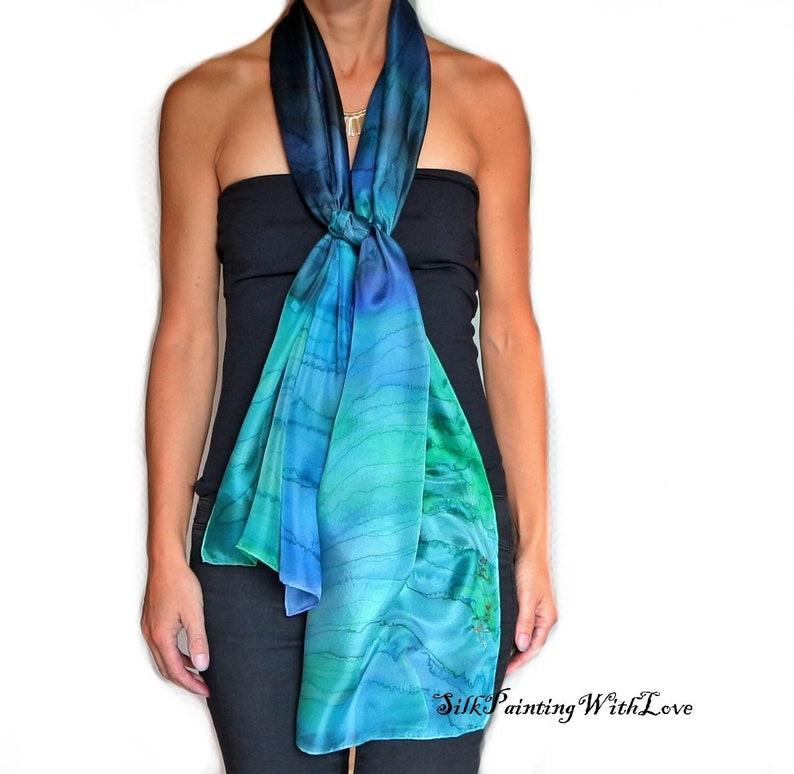 715cab38d46 Hand painted scarf. Blue green shawl. Dark blue smaragd green silk scarf.  Elegant gift for her. Deep blue Ocean scarf Sea Mermaid scarf.