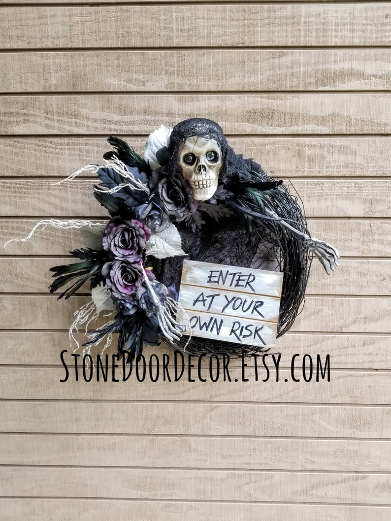 Free Door Hanger Halloween Scary Skeleton Wreath Enter At Your Own Risk Sign 25 Black Purple Glitter Halloween Decorations Spooky