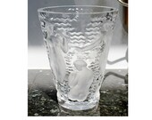 Lalique Ondines France Crystal Glass Vase with Nude Muses