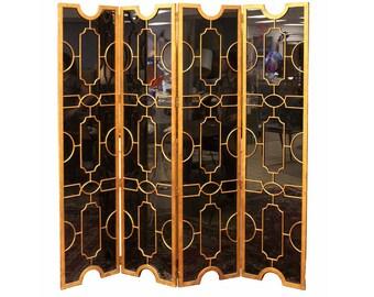 Hollywood Regency Art Deco Black Glass Bronze Folding Screen Room Divider