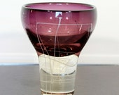 Contemporary Art Glass Vase Table Sculpture Signed Mark J Sudduth Amethyst Line