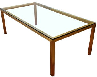 Mid Century Modern Bronze Brass & Glass Rectangular Dining Table Brueton