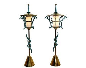 Mid Century Modern Rembrandt Pair of Solid Brass Table Lamps Cold Painted 1957