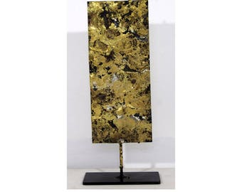 Contemporary Modern Brutalist Brass Style Metal Table Sculpture by E. Bolinger