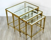Mid Century Modern French Set 3 Nesting Stacked Side Tables Brass Glass 1950s