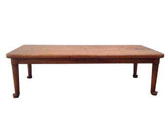 Primitive Low Wood Coffee Table Antique Brown Furniture