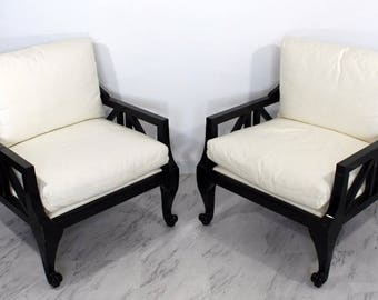 Mid Century Modern Pair Barbara Barry Baker Black Lacquer Over Sized Arm  Chairs