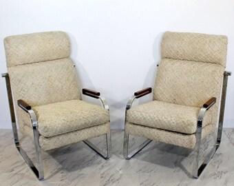 Antiques Pair Milo Baughman Flat Chrome Bar Arm Chairs Mid Century Mod Thayer Mcm Danish