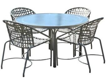47562e8efd095 Mid Century Modern Brown Jordan Kantan Patio Dinette Set Table 4 Chairs  1960s