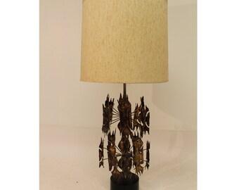 c8f2ac5826459 Vintage Mid Century Modern Harry Balmer Brutalist Torchcut Lamp Original  Shade
