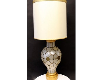 dcac134031882 Mid Century Modern Rembrandt Capiz Shell Floral Table Lamp Original Shade