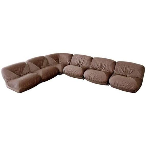 Astonishing Mid Century Modern Airborne Patate 6 Piece Sectional Sofa 70S Velvet French Creativecarmelina Interior Chair Design Creativecarmelinacom