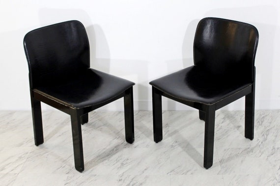 Prime Mid Century Modern Pair Of Black Leather And Wood Bb Italia Side Chairs 1970S Inzonedesignstudio Interior Chair Design Inzonedesignstudiocom