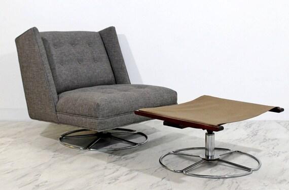 Outstanding Mid Century Modern Low Gray Swivel Chair Ottoman Chrome Base Baughman Era Bralicious Painted Fabric Chair Ideas Braliciousco