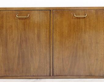 Mid Century Modern American of Martinsville Gershun Dania Walnut Brass Cabinet