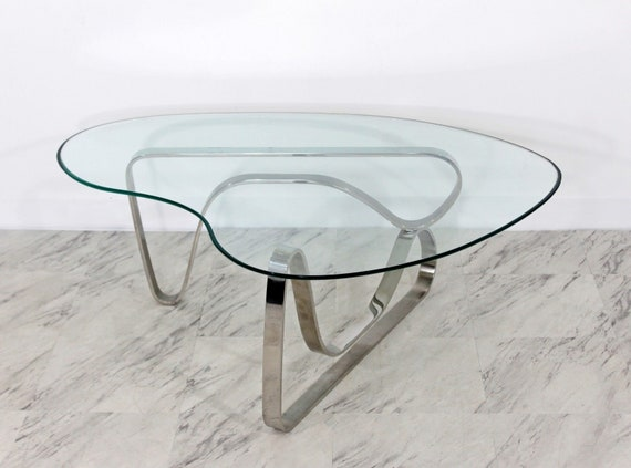 Mid Century Modern Sculptural Chrome Kidney Glass Coffee Table Etsy