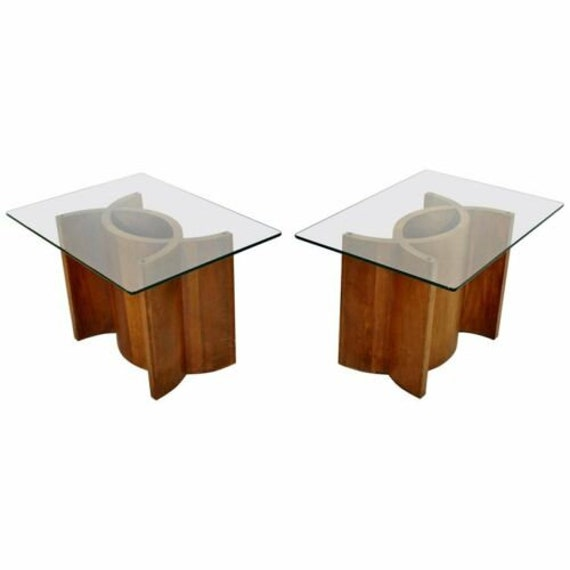 Groovy Mid Century Modern Pair Sculptural Wood Glass Side End Tables Kagan Style Download Free Architecture Designs Grimeyleaguecom