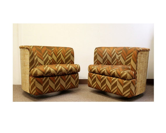 Stupendous Mid Century Modern Pair Baughman Thayer Coggin Wood Club Barrel Swivel Chairs Onthecornerstone Fun Painted Chair Ideas Images Onthecornerstoneorg