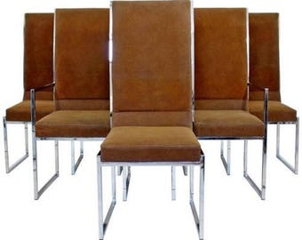 Mid Century Modern Milo Baughman for DIA Set of 6 Chrome Dining Chairs 1970s