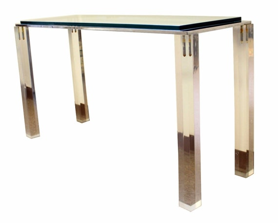 Mid Century Modern Lucite Glass Chrome Console Table Charles Etsy