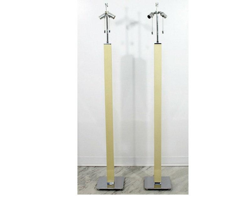 Mid Century Modern Pair Lizard Column Chrome Floor Lamps Karl Springer 1970s