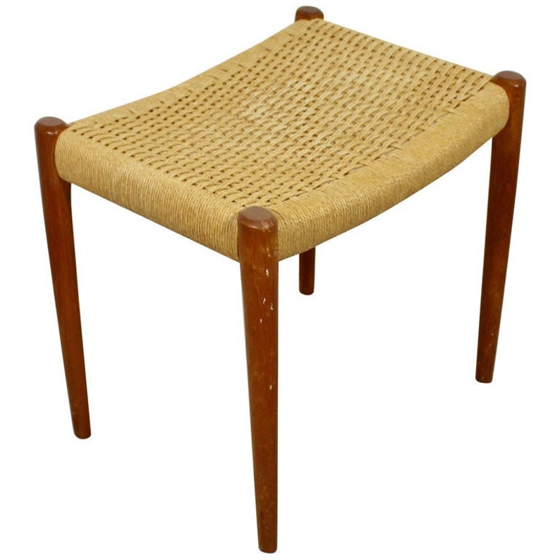 Remarkable Mid Century Modern Teak Rattan Cord Stool Bench Seat Niels Moller Danish 1960S Onthecornerstone Fun Painted Chair Ideas Images Onthecornerstoneorg
