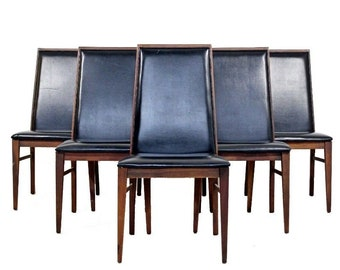 Mid Century Modern Milo Baughman for Dillingham Set of 8 Side Dining Chairs 1960s