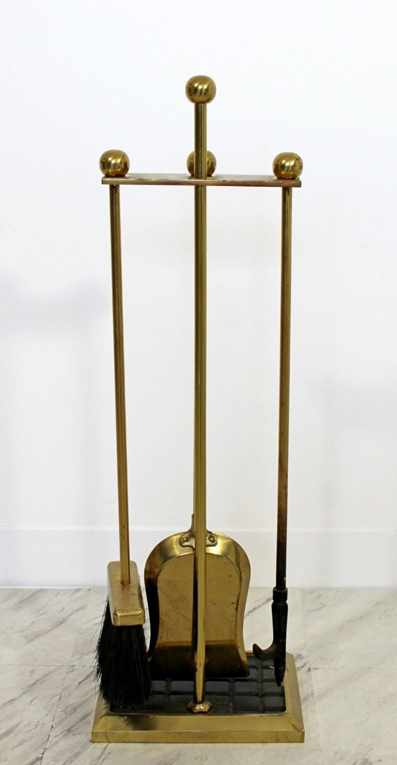 Mid Century Modern Brass Set of Fireplace Tools 1960s Shovel Poker Brush