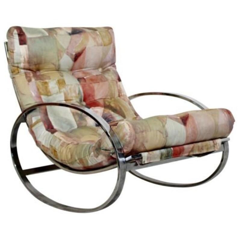 more photos 8ff1a bfedb Mid Century Renato Zevi Chrome Elliptical Rocking Chair Selig Baughman Era  70's