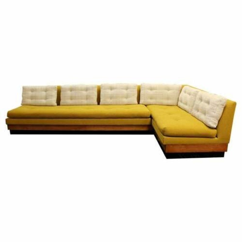 Superb Mid Century Modern Adrian Pearsall Craft Plinth Base 2 Pc Sectional Sofa 1960S Creativecarmelina Interior Chair Design Creativecarmelinacom