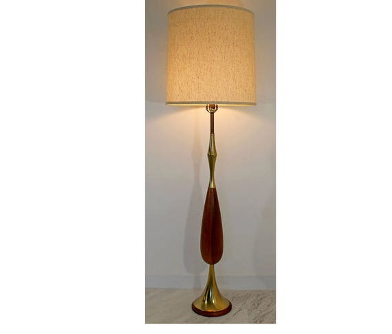 Mid Century Modern Laurel Brass Wood Floor Lamp W Original Shade 1960s